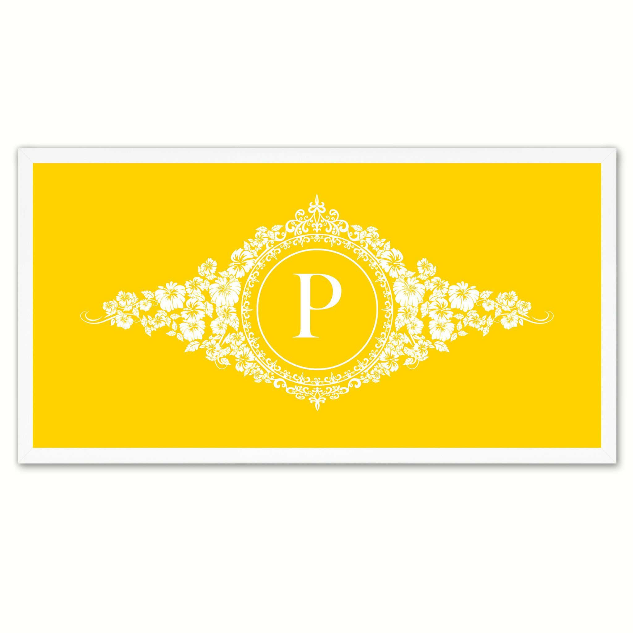 Alphabet Letter P Yellow Canvas Print White Frame Kids Bedroom Wall ...