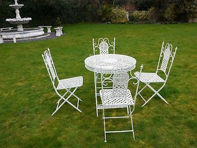 Fabulous French Style Ornate Antique White Metal Garden Table And
