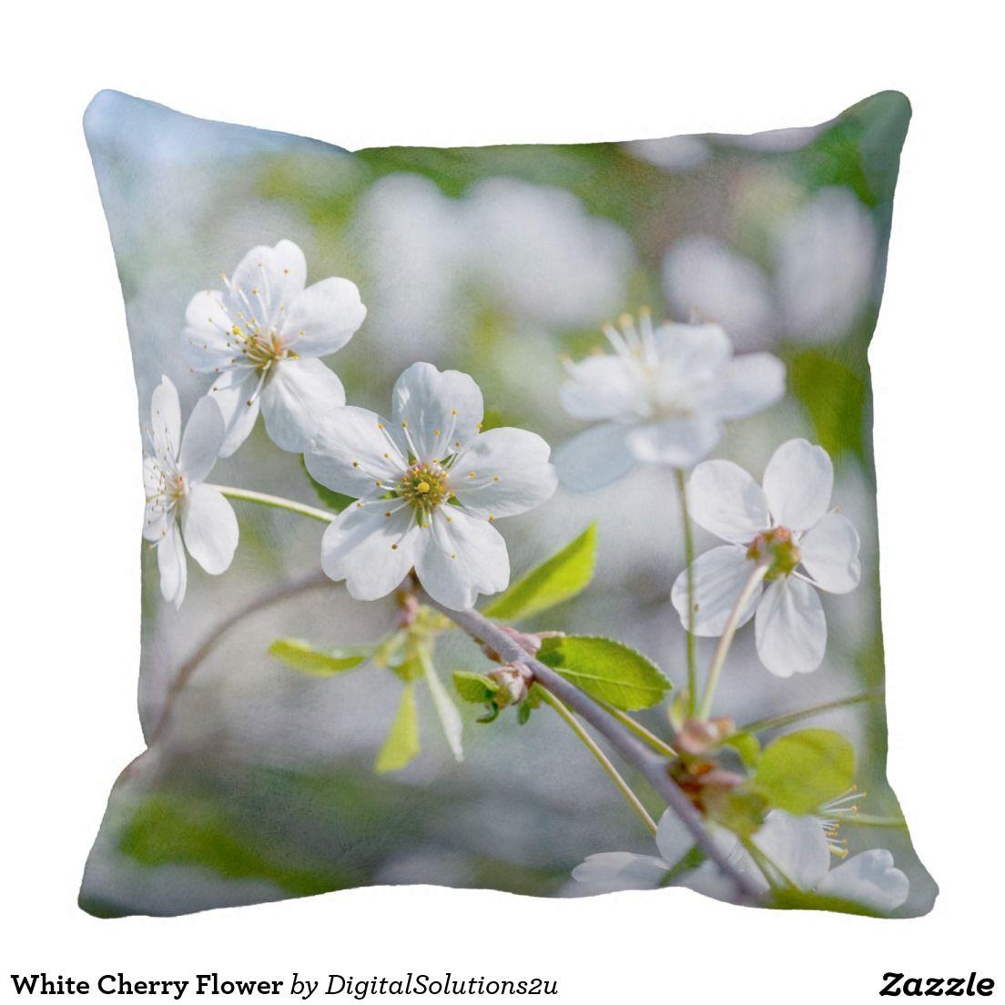 White Cherry Flower Pillow