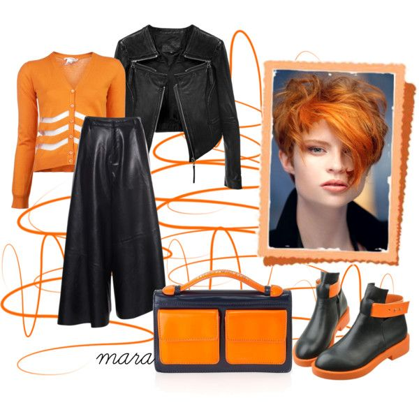 Orange for sunny days in Fall by marastyle on Polyvore featuring Mode, Carven, Marc by Marc Jacobs and Front Row Shop