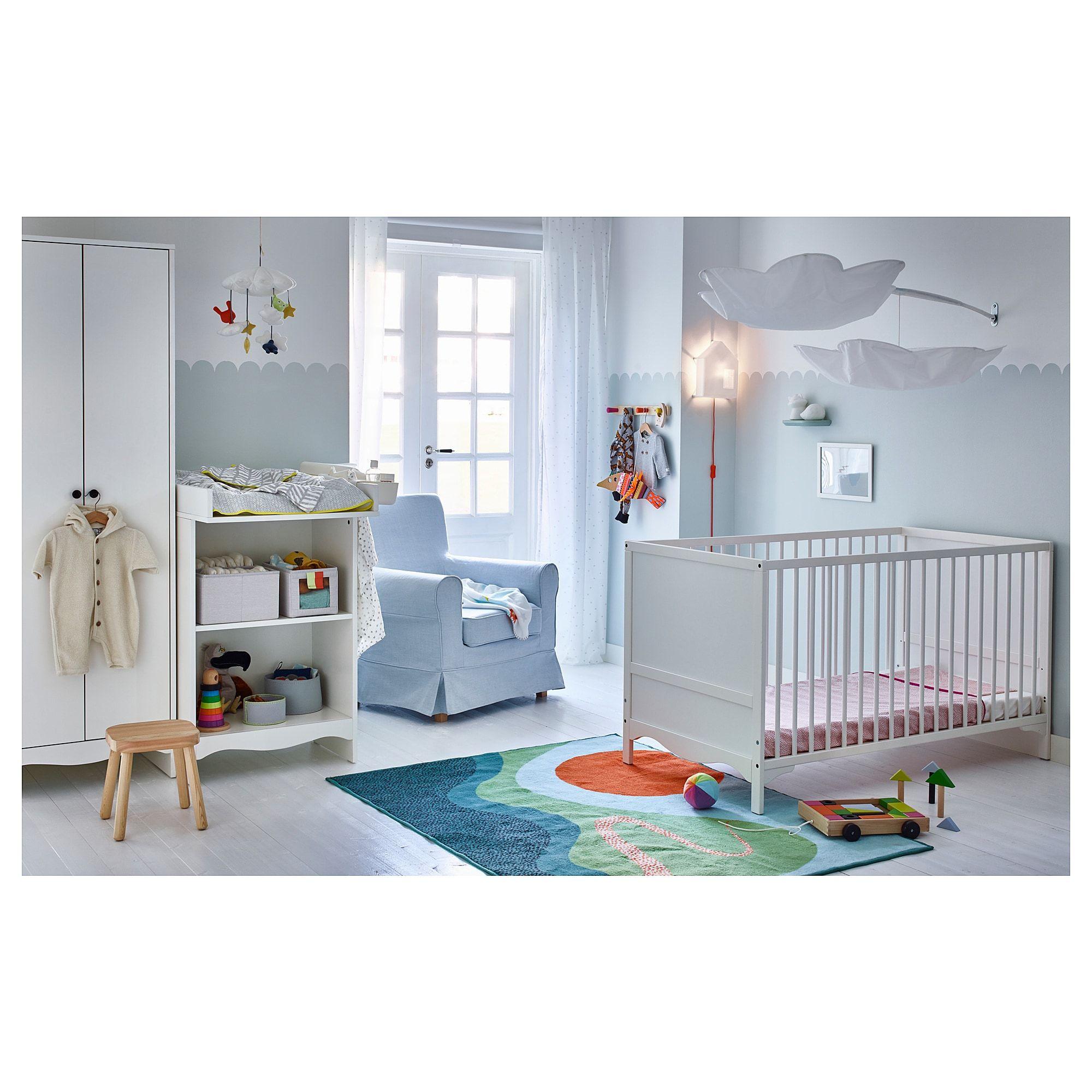 IKEA SOLGUL Crib white Ikea baby, Baby boy rooms, Cribs
