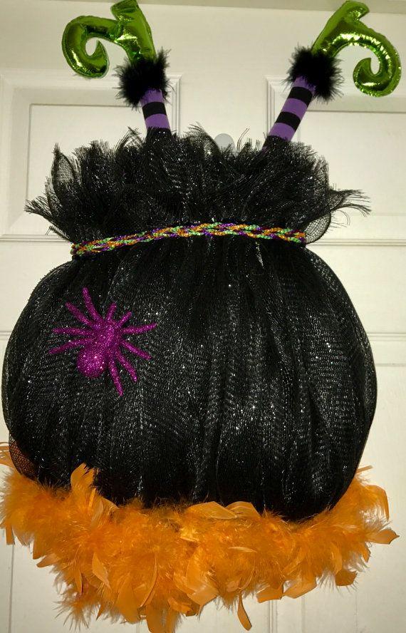 witchs cauldron halloween deco mesh wreath by wreathsbyjeanz - Halloween Deco
