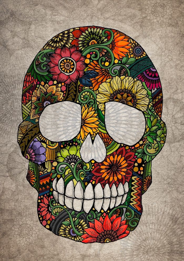 Zentangle Skull (color) Art Print by Noah's ART | Society6