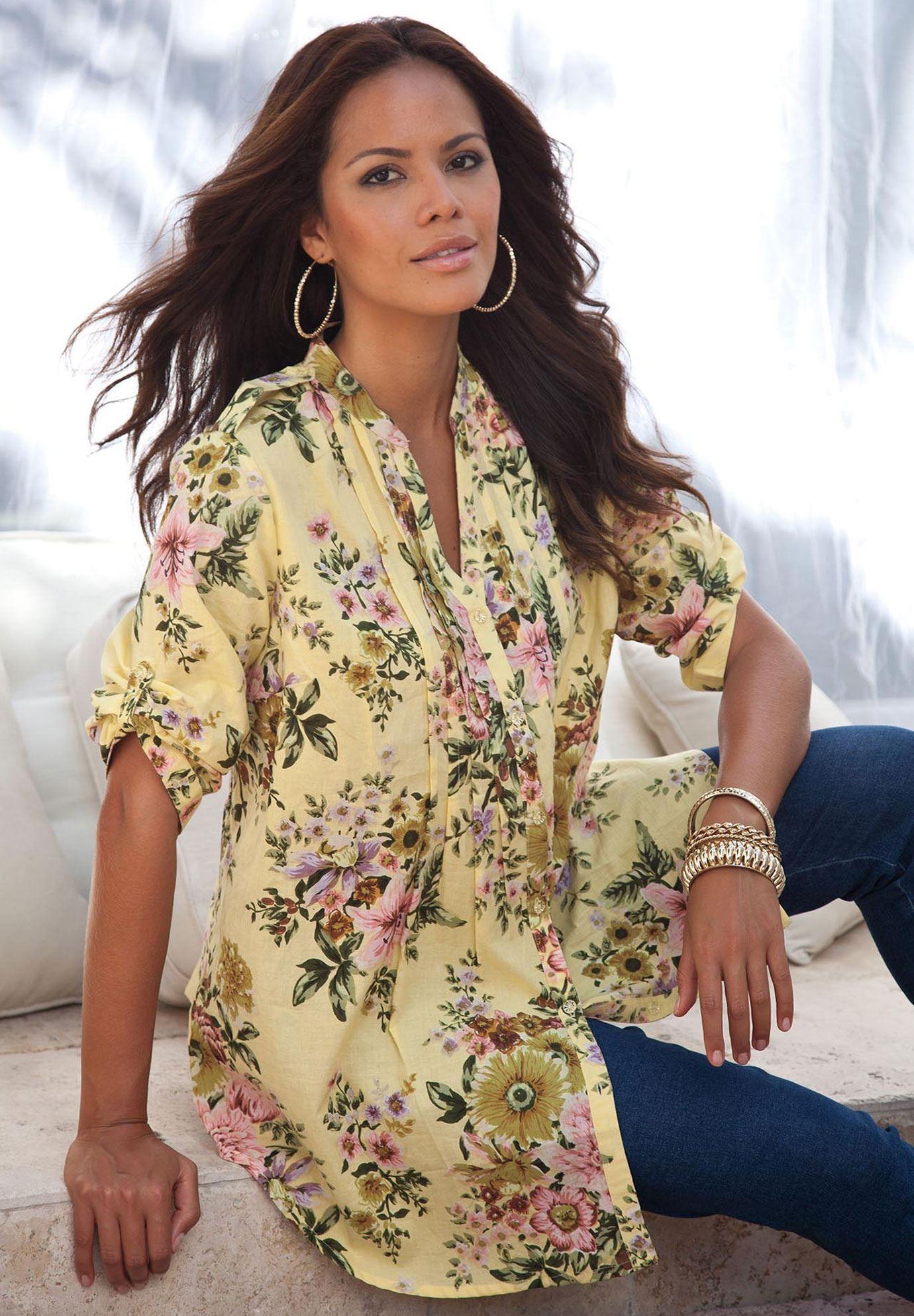 Plus Size English Floral Tunic