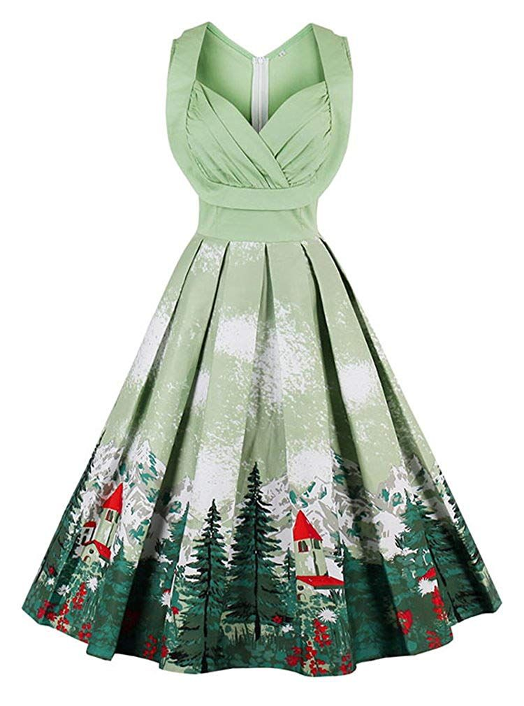 Womens Christmas Vintage Dress XL, Green Ladies Long Sleevel Round Neck Cocktail Party Dresses Evening Prom Aline Swing Dress