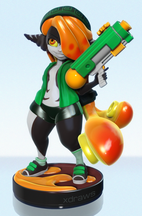 Squidna! - Midna and Inkling girl from Splatoon custom Amiibo by xdraws