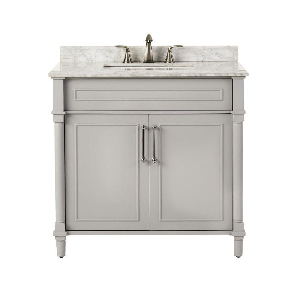 home decorators collection aberdeen 36 in w x 22 in d single home decorators collection aberdeen 36 in w x 22 in d single vanity in dove grey with natural marble vanity top in white with white basin