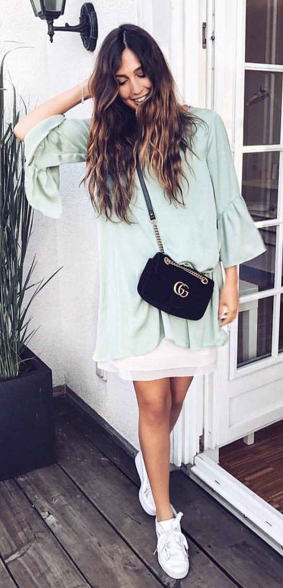 8a870018bafc0  fall  outfits Mint Dress + White Sneakers + Black Shoulder Bag