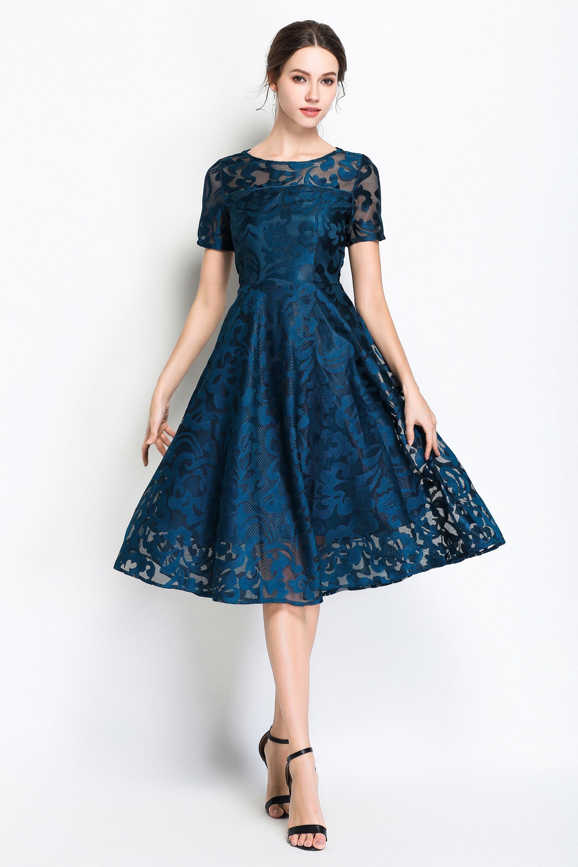 f755cd1a83 Evening Crewneck Short Sleeve Full Skirt Lace Midi Dress in 2019 ...