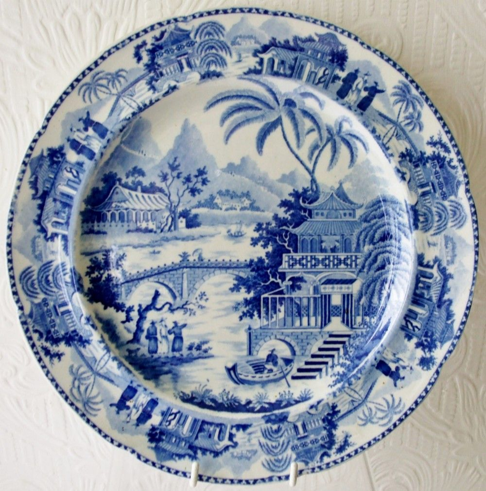 Antique English Georgian Blue and White Transfer \ Bridge and Pagoda\  Pattern Pearlware Plate ~ & Antique English Georgian Blue and White Transfer \