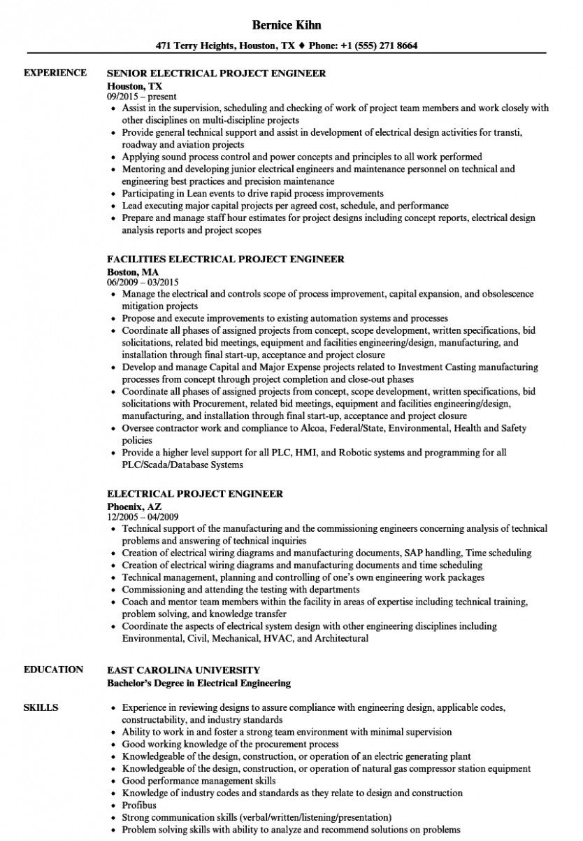 11 Electrical Engineer Resume Job Obligations in 2020