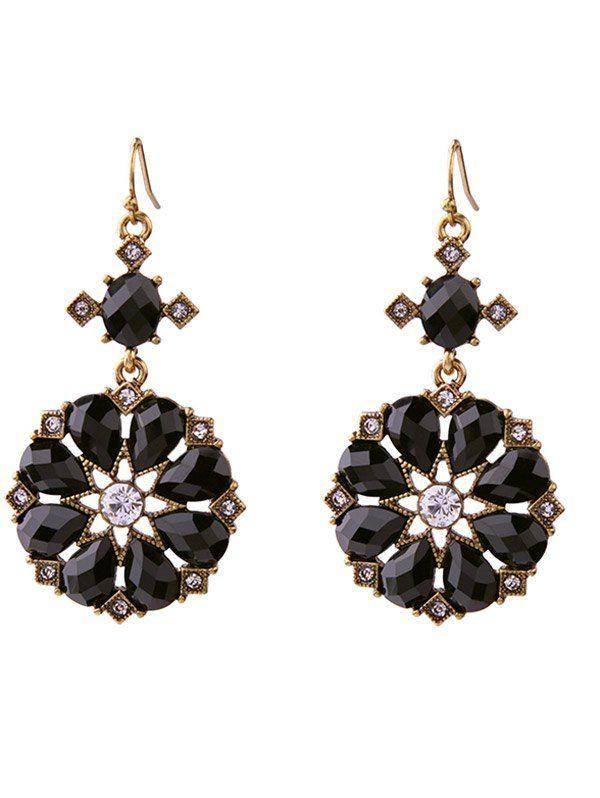 Rhinestone Water Drop Flower Shape Earrings #hats, #watches, #belts, #fashion, #style