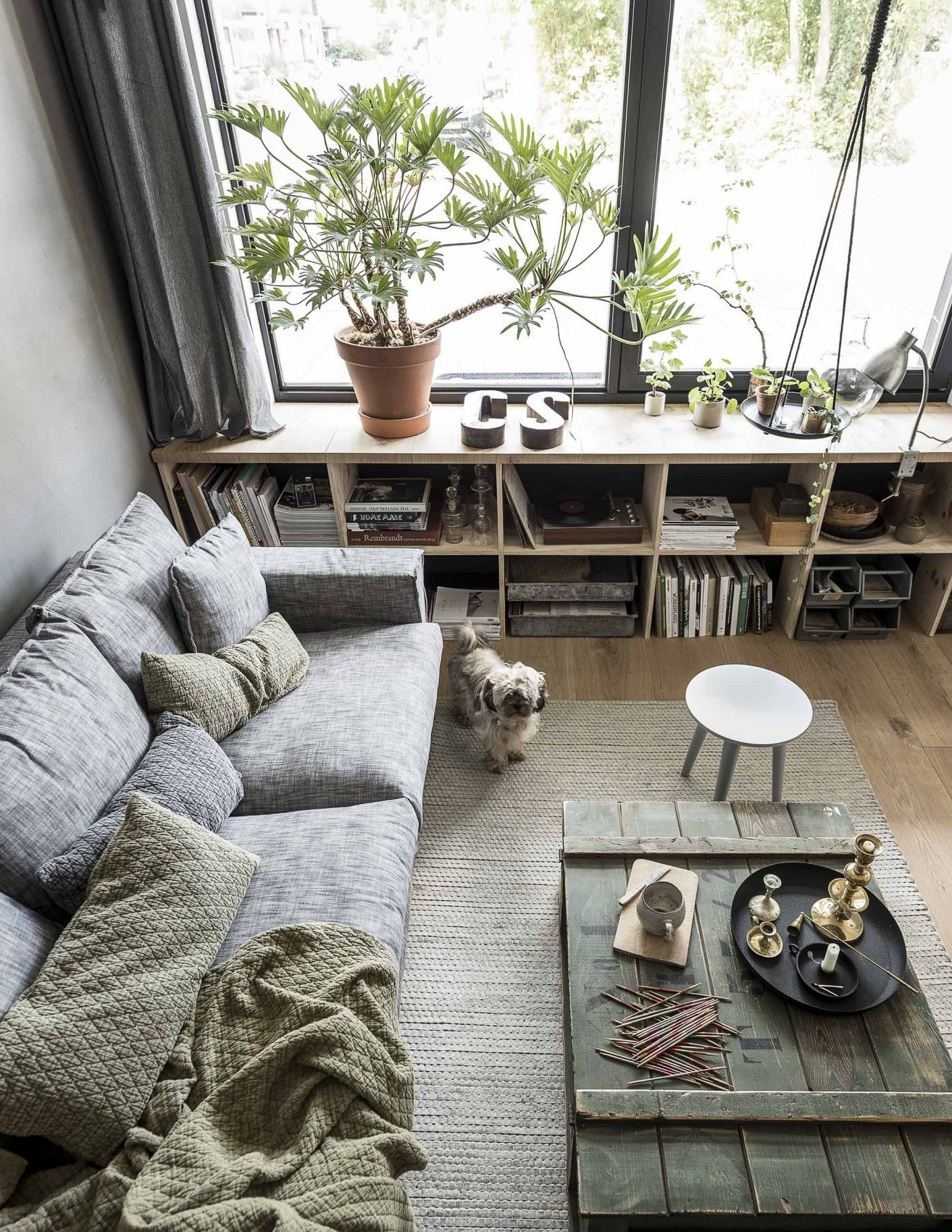 Woonkamer met grijze en groene accessoires | Living room with grey ...