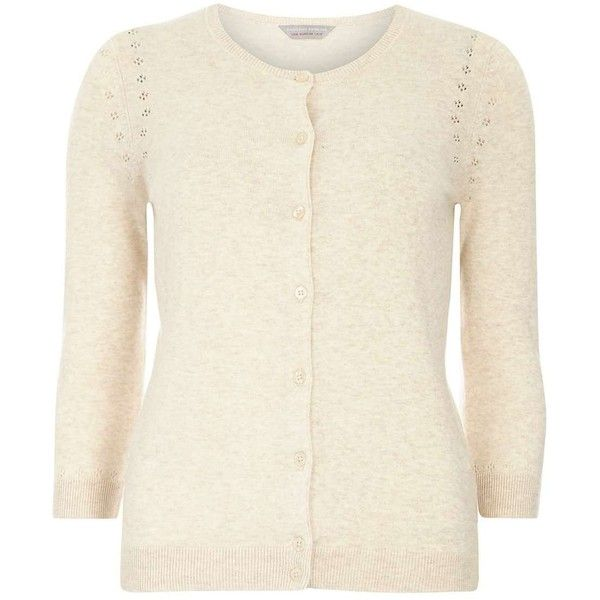 Dorothy Perkins Petite Beige cardigan ($28) ❤ liked on Polyvore featuring tops, cardigans, beige, petite, white pointelle cardigan, white top, cotton cardigan, white cotton tops and white cotton cardigan