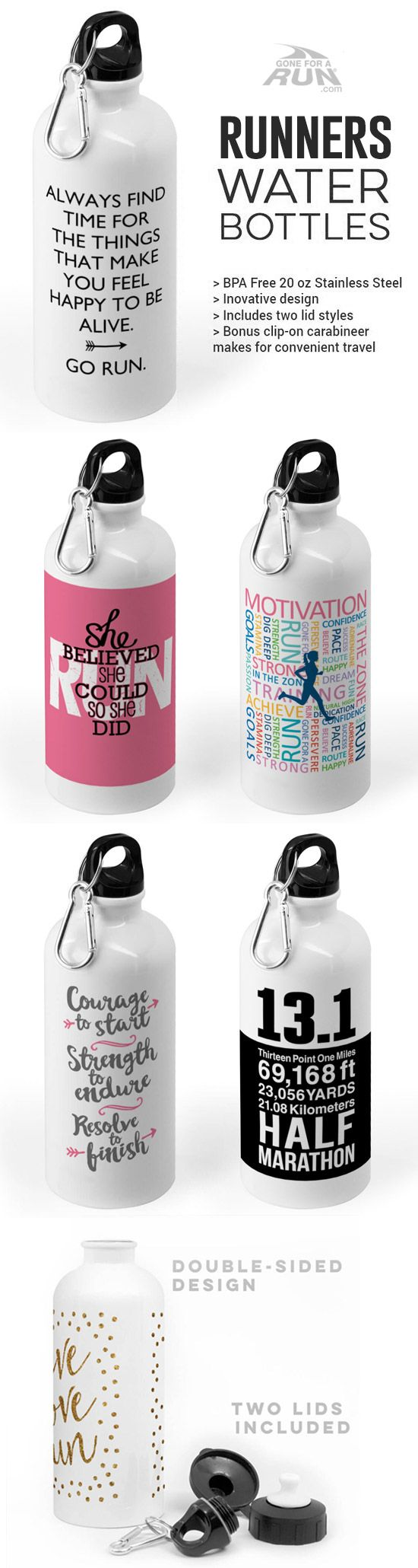Our Runners water bottles help you keep hydrated and inspired! Choose from dozens of designs, colors, and personalization options!