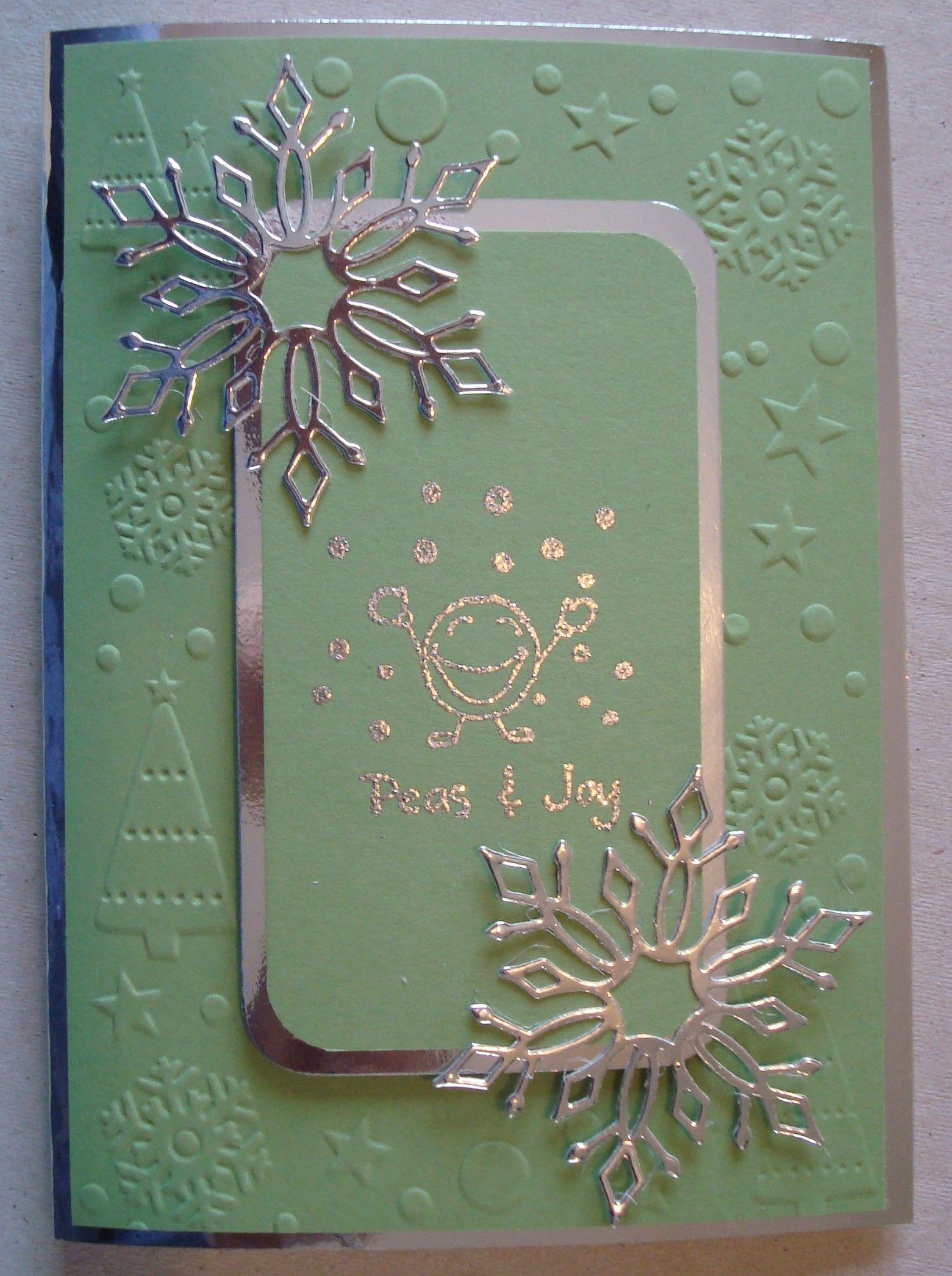 X051 Hand made Christmas card using Penny Black Peas and Joy stamp