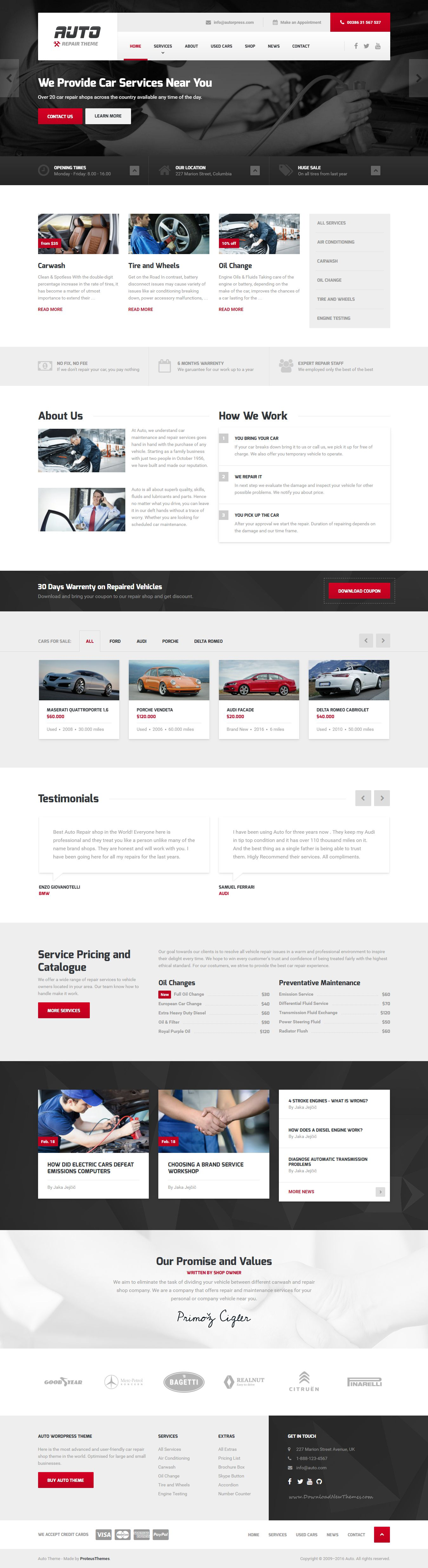 Auto Ideal Car Mechanic And Auto Repair Template For Wordpress