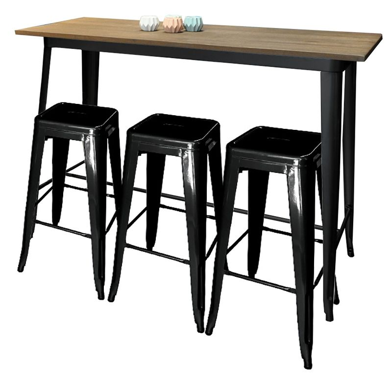 Delightful Replica Tolix Wooden Top Long Bar Table