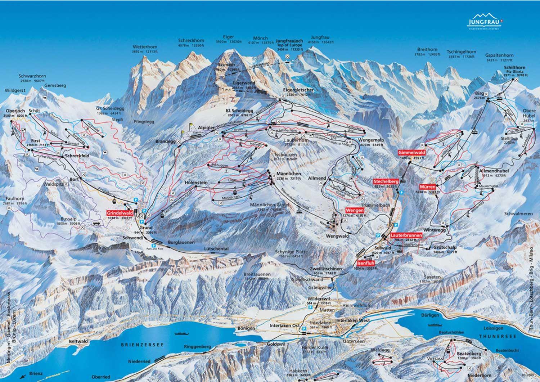 Skiing Possibilities around Jungfraujoch, Schilthorn ... on eiger map, schaffhausen map, hook of holland map, montreux map, verbier map, grosse scheidegg map, st. moritz map,