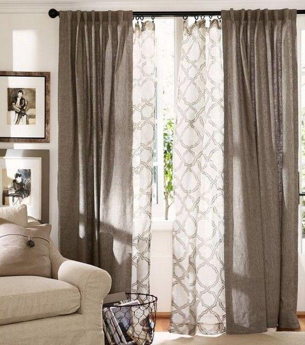 Gardinen Vorhange Kombinieren Fenster Gestalten Vorhange Wohnzimmer Wohnen Gardinen Wohnzimmer