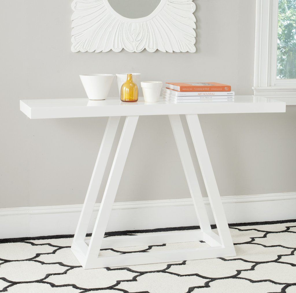 Safavieh Sutton Lacquer Console White Console Table Sofa End Tables Wood Console Table