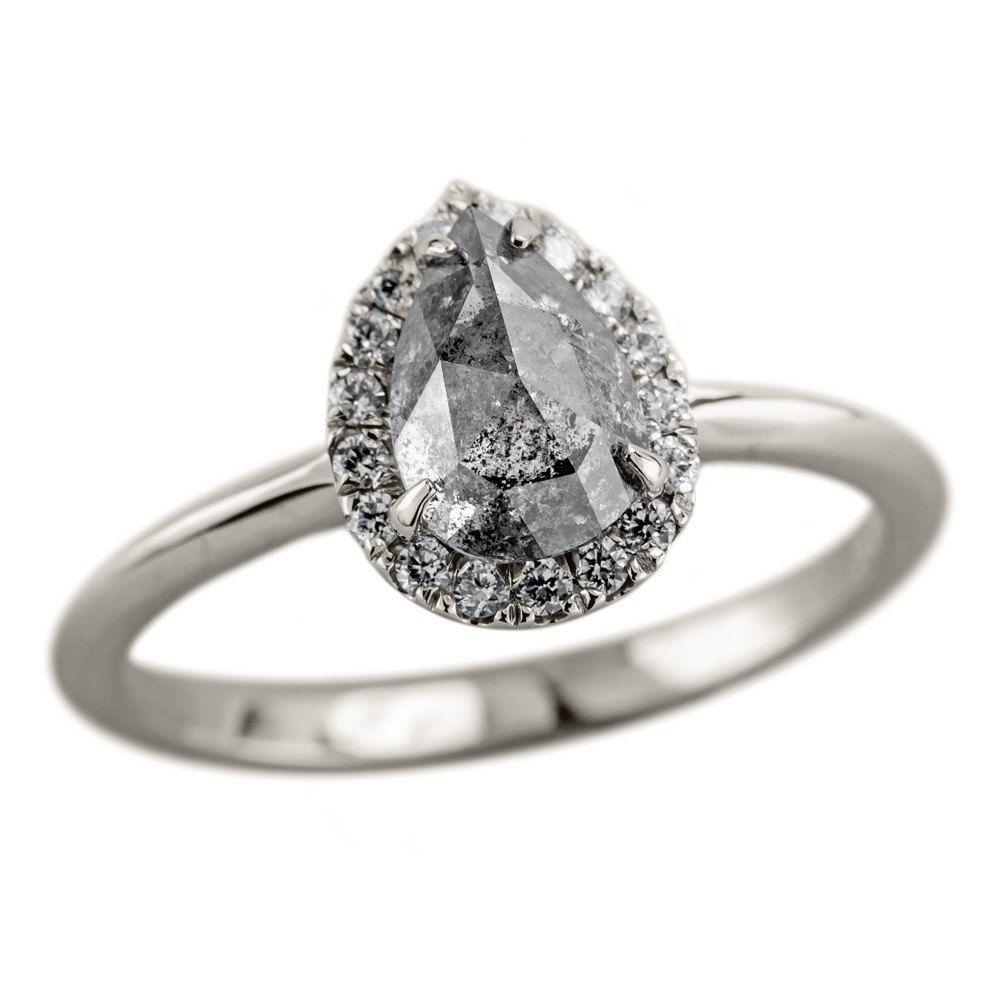 14 Carat Salt & Pepper Diamond Halo Engagement Ring, 14k White Gold