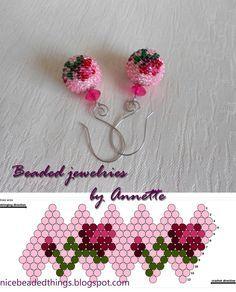 Гарненькі бісерні штучки | Beaded jewelries by Annette: Троянда королеви Вікторії: сережки