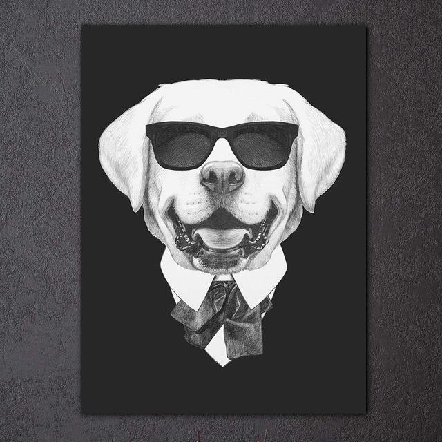 1 piece modern black white painting italy mafia fashion animals dog cat poster grey canvas print