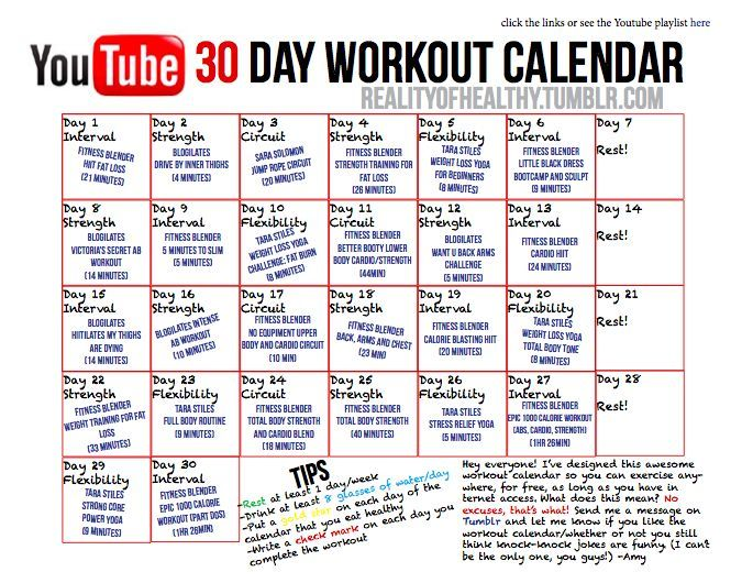 Workout Calendar For Gym : Workout calendars to follow this month