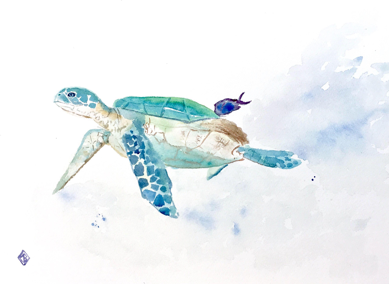 Sea turtle 9x12 original watercolor painting ocean for Turtle fish paint