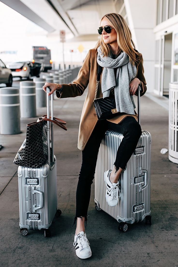 Blonde Woman Airport Travel Style Rimowa Luggage Goyard Tote Camel coat, grey scarf (Fashion Jackson)