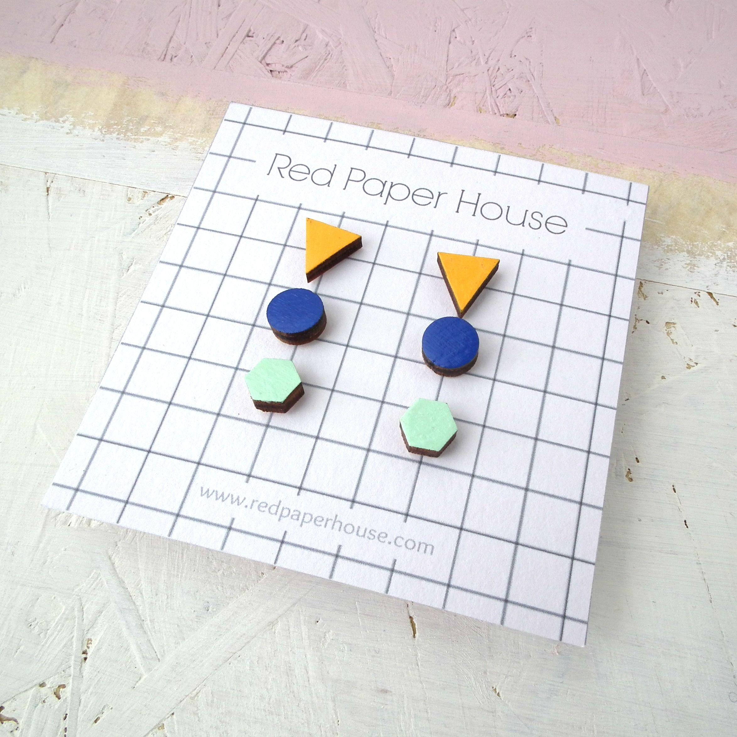 geometric design paper earrings hand-painted nickel free Stud earrings gift for a friend minimal stud earrings