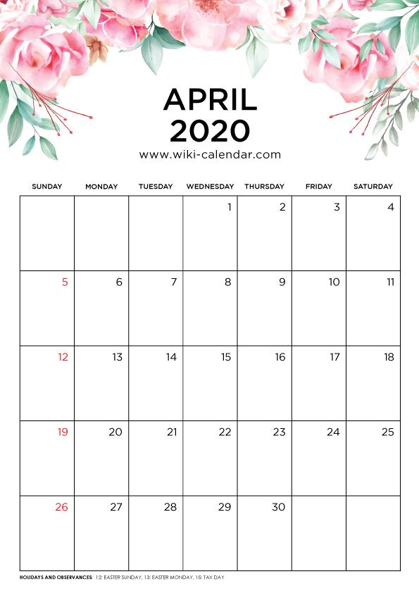 Free Printable April 2020 Calendar Wiki Calendar Com Shablony