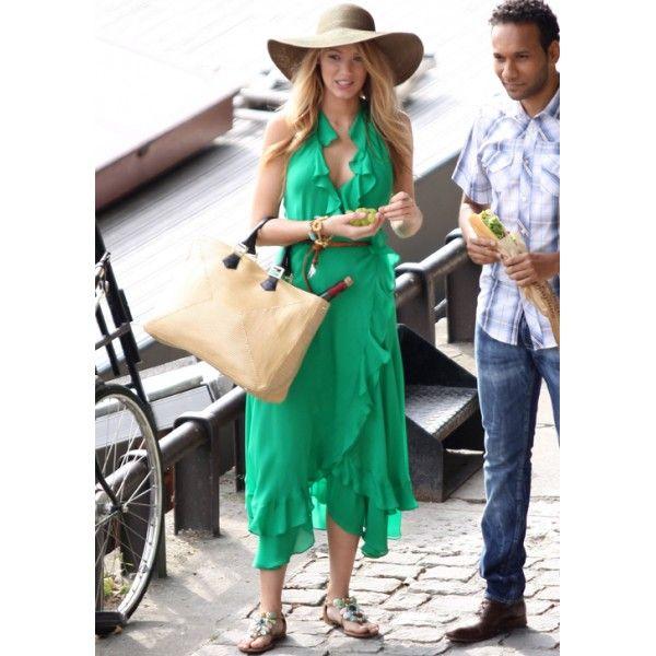 Blake Lively (Serena) Green Chiffon Prom Dress Gossip Girl S4