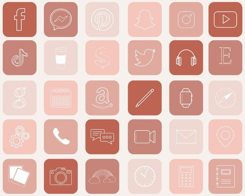 IOS 14 App Icons blush 30pk Instant Download | Ets
