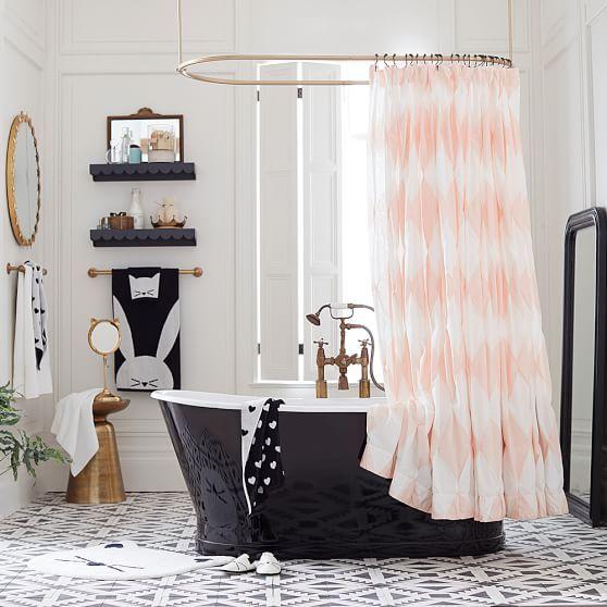 The Emily Meritt Harlequin Pintuck Shower Curtain