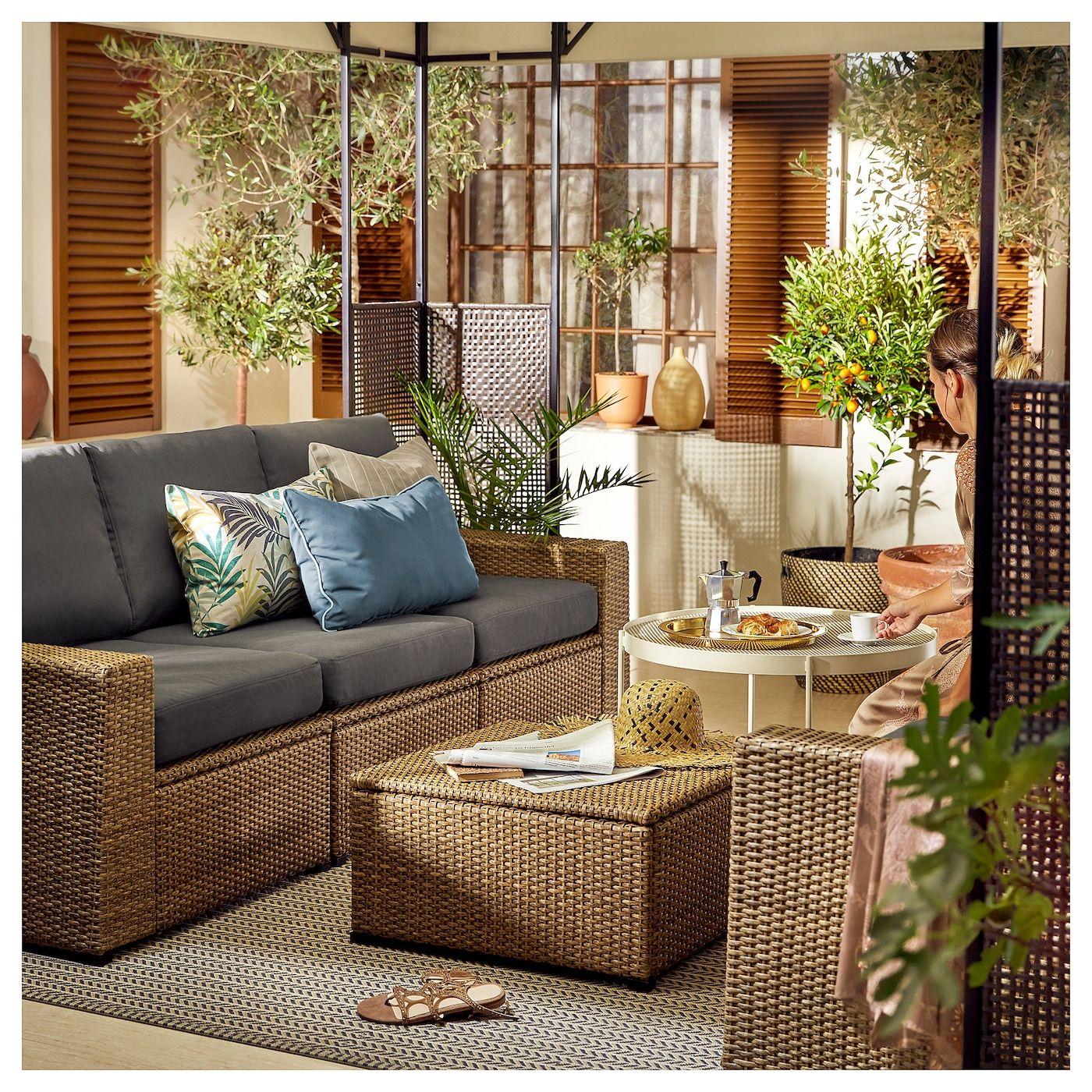 Solleron 3 Seat Modular Sofa Outdoor Brown Froson Duvholmen Dark Gray Ikea In 2020 Ikea Outdoor Gartenmobel Sets Rattan Gartenmobel