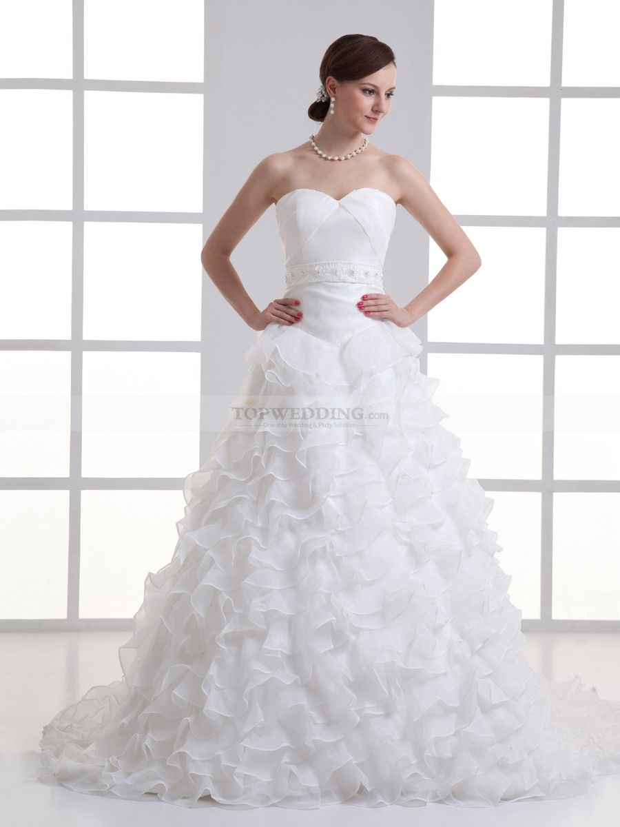 Sweetheart A Line Wedding Dress with Organza Ruffled Skirt and Embellished Sash