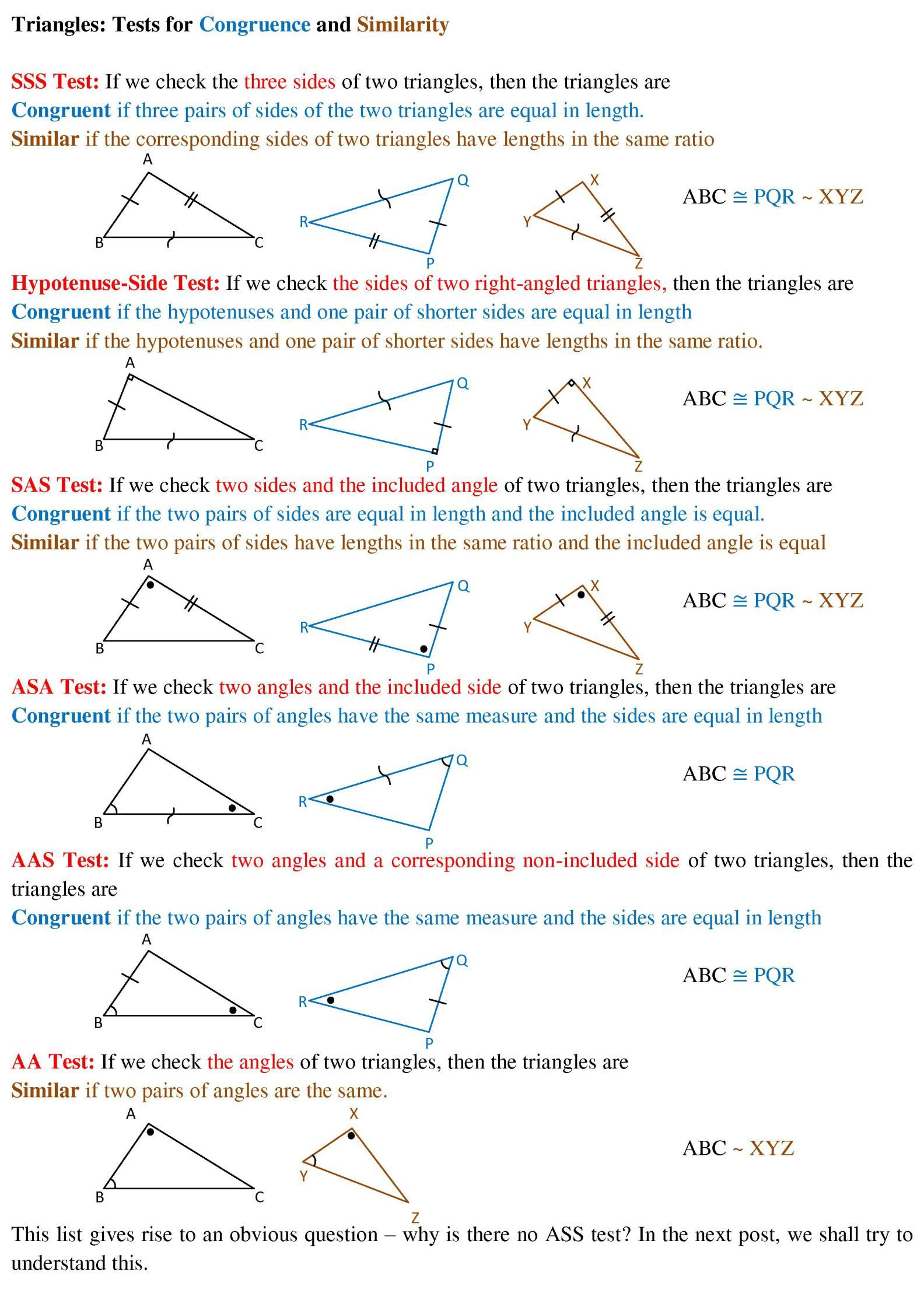 Triangles Similarity And Congruence Cat Holics
