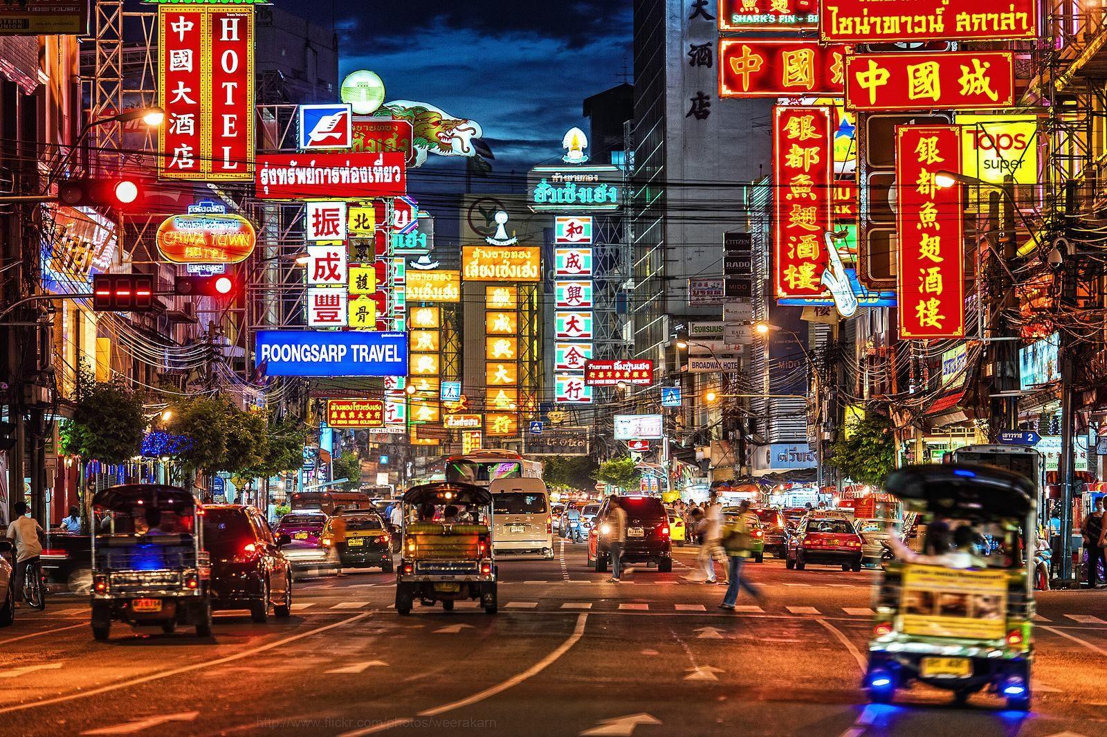 Neon Lights And Traffic On Yaowarat Road At Night In Chinatown Bangkok Bangkok Travel Bangkok Tourist Thailand Travel