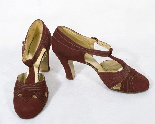 T-strap shoes: ca.1927-1933, burgundy suede lined with tan kid leather, Louis heels.