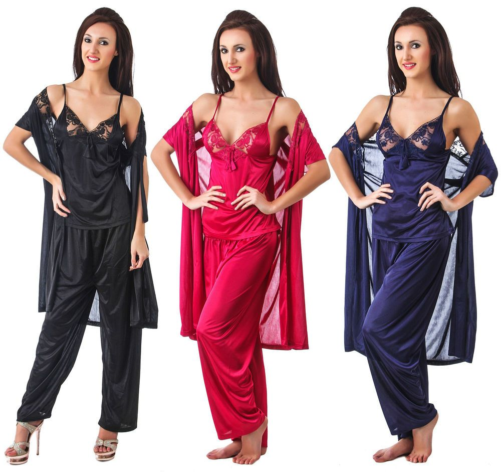 Details about WOMENS 3 PIECE DESIGNER SATIN PYJAMA SET