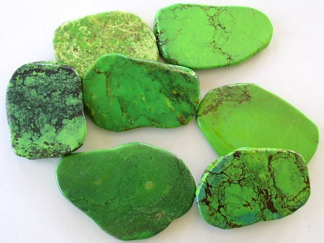 Slab Beads Lime Green Turquoise 46 60mm Tur204 Green Turquoise Minerals And Gemstones Shades Of Green