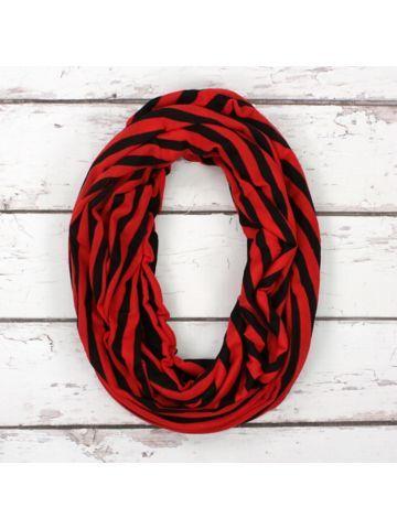 www.ewam.com Red and Black Stripe Infinity Scarf