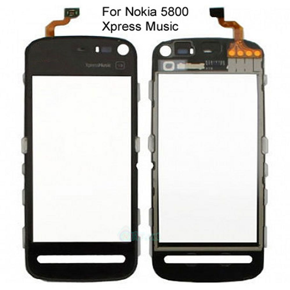 PER NOKIA 5800 XPRESS MUSIC DISPLAY LCD TOUCH SCREEN DIGITIZER OBIETTIVO di VETRO NERO