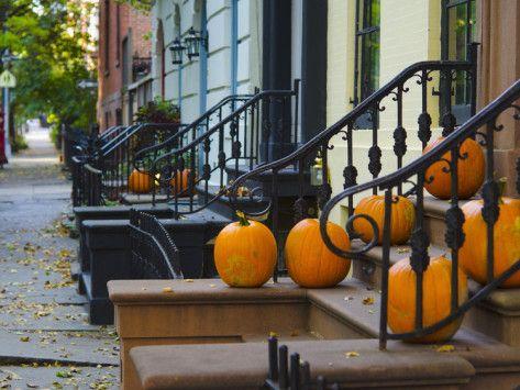 USA, New York, Brooklyn, Brooklyn Heights, Halloween Pumpkins Photographic Print