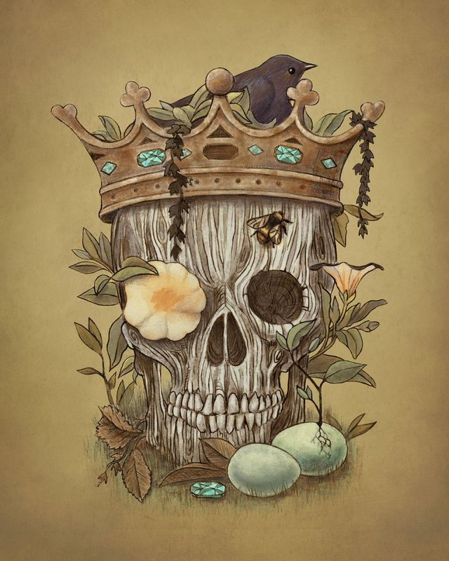 "Skulls: #Skull ~ ""Nature's Reign,"" art print by Terry Fan."