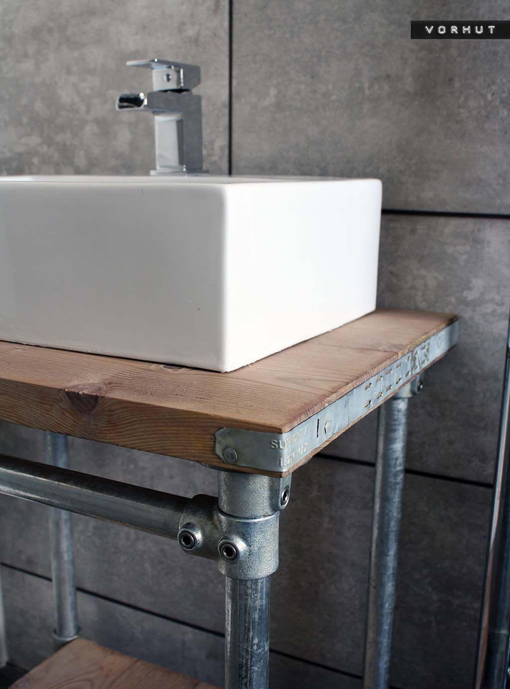 Vorhut Vintage Scaffold Board Vanity Unit Industrial Style Bathroom Sink Vanity Unit Vanity Units