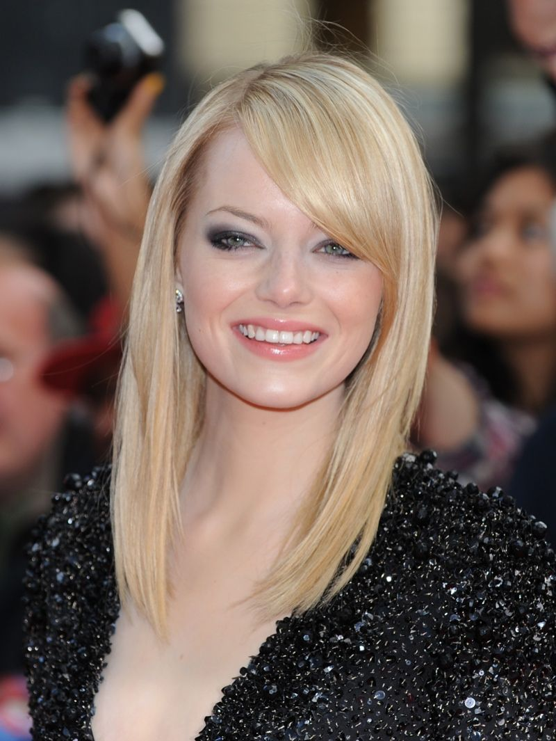 Emma Stone Blonde,Medium Straight Hairstyles for Side Bangs 2013