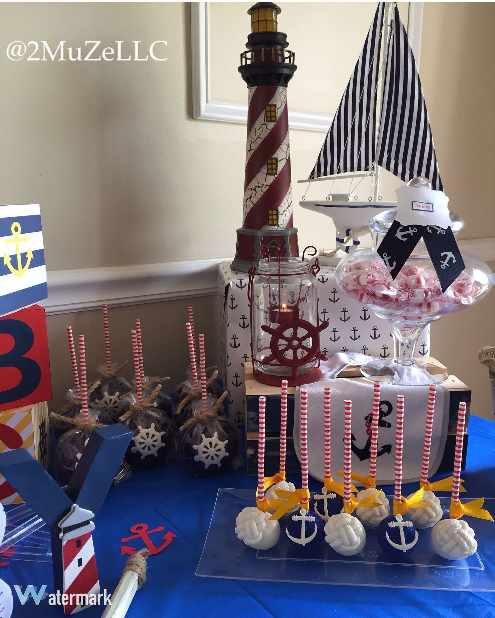 Nautical themed candy apples & cakepops